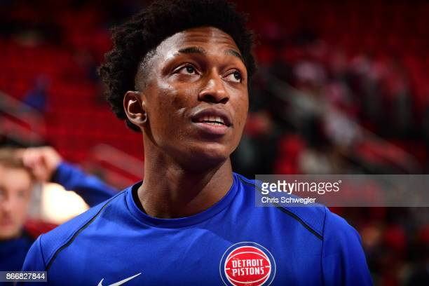 Stanley Johnson of the Detroit Pistons looks on before the game against the Minnesota Timberwolves on October 25 2017 at Little Caesars Arena in...