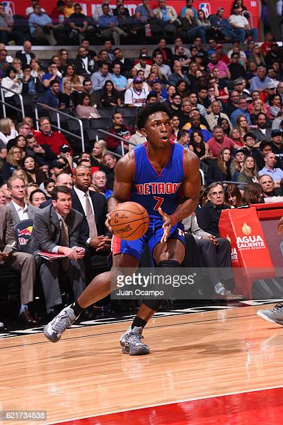 Stanley Johnson of the Detroit Pistons looks to shoot the ball during a game against the LA Clippers on November 7 2016 at the STAPLES Center in Los...
