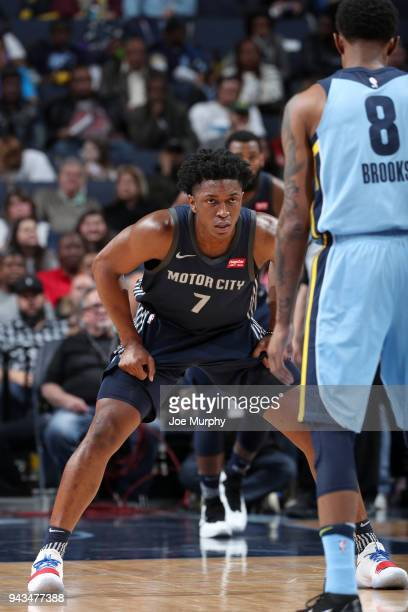 Stanley Johnson of the Detroit Pistons plays defense against the Memphis Grizzlies on April 8 2018 at FedExForum in Memphis Tennessee NOTE TO USER...