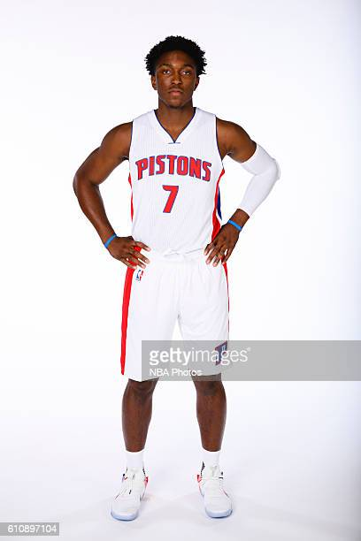 Stanley Johnson of the Detroit Pistons poses for a photo during the 20162017 Detroit Pistons media day on September 26 2016 in Auburn Hills MI NOTE...
