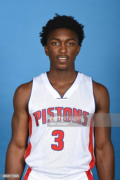 Stanley Johnson of the Detroit Pistons poses for a portrait during media day on September 28 2015 at The Palace of Auburn Hills in Auburn Hills...