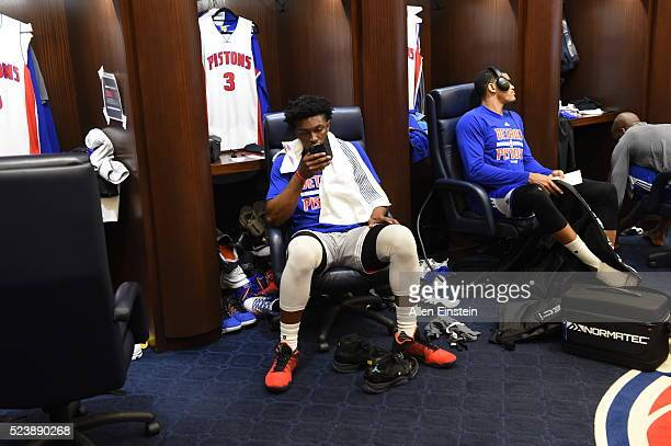 Stanley Johnson of the Detroit Pistons prepares for Game Four of the Eastern Conference Quarterfinals against the Cleveland Cavaliers during the 2016...