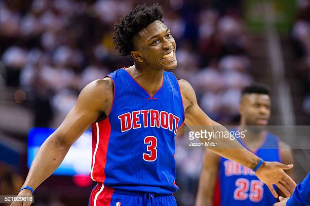 Stanley Johnson of the Detroit Pistons reacts after scoring during the first half of the NBA Eastern Conference Quarterfinals against the Cleveland...