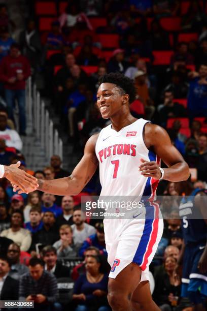 Stanley Johnson of the Detroit Pistons reacts during the game against the Minnesota Timberwolves on October 25 2017 at Little Caesars Arena in...