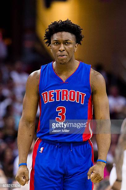 Stanley Johnson of the Detroit Pistons reacts during the second half of the NBA Eastern Conference quarterfinals against the Cleveland Cavaliers at...