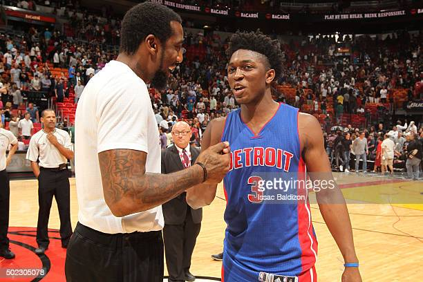 Stanley Johnson of the Detroit Pistons shakes hands with Amar'e Stoudemire of the Miami Heat after the game on December 22 2015 at American Airlines...
