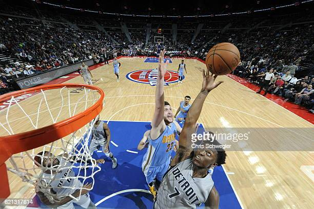 Stanley Johnson of the Detroit Pistons shoots the ball against the Denver Nuggets on November 5 2016 at The Palace of Auburn Hills in Auburn Hills...