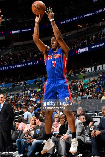 Stanley Johnson of the Detroit Pistons shoots the ball against the Orlando Magic on April 12 2017 at the Amway Center in Orlando Florida NOTE TO USER...
