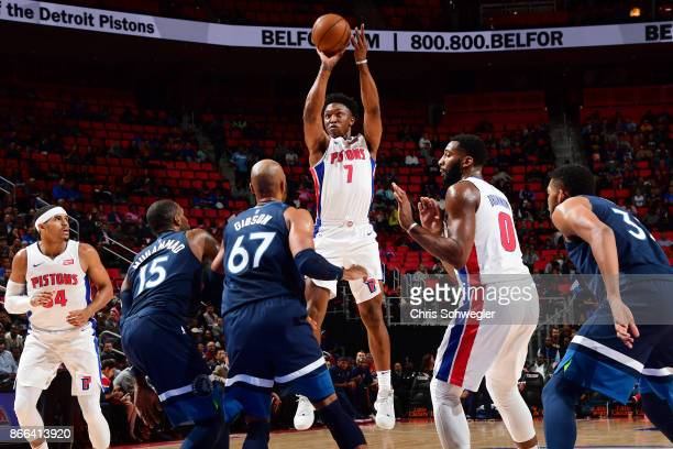 Stanley Johnson of the Detroit Pistons shoots the ball against the Minnesota Timberwolves against the Minnesota Timberwolves on October 25 2017 at...