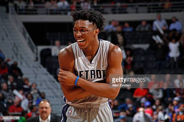 Stanley Johnson of the Detroit Pistons smiles and laughs during the game against the Chicago Bulls on January 18 2016 at The Palace of Auburn Hills...