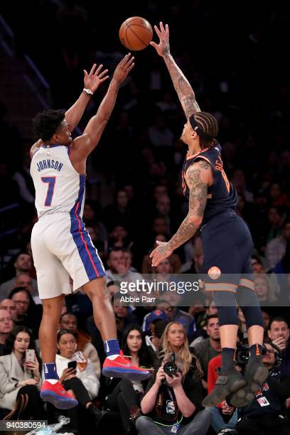 Stanley Johnson of the Detroit Pistons takes a shot against Michael Beasley of the New York Knicks in the third quarter during their game at Madison...