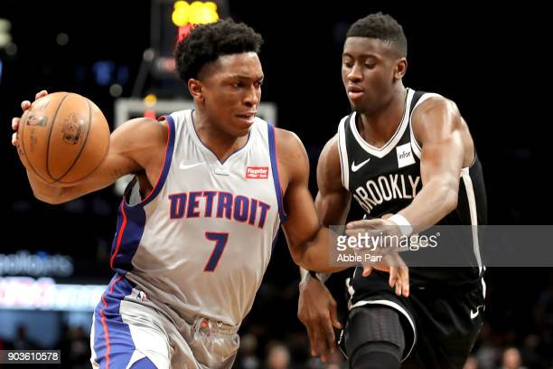 Stanley Johnson of the Detroit Pistons works against Caris LeVert of the Brooklyn Nets in the third quarter during their game at Barclays Center on...