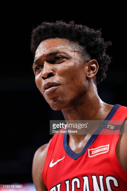 Stanley Johnson of the New Orlean Pelicans during the game against the Orlando Magic at the Amway Center on March 20 2019 in Orlando Florida The...