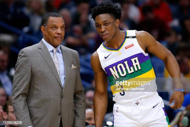 Stanley Johnson of the New Orleans Pelicans and head coach Alvin Gentry talk during the second half against the Minnesota Timberwolves at the...