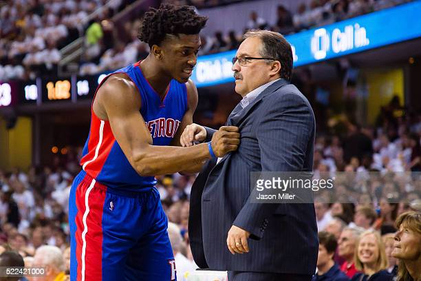 Stanley Johnson talks with hit head coach Stan Van Gundy of the Detroit Pistons during the first half of the NBA Eastern Conference quarterfinals at...