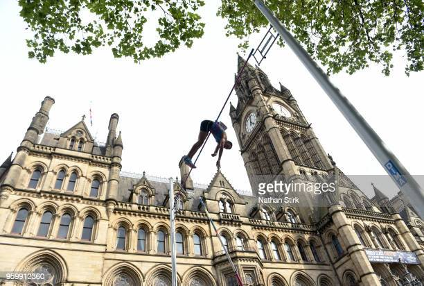 Stanley Joseph of France competes in the mens pole vault during the Great City Games on May 18 2018 in Manchester England
