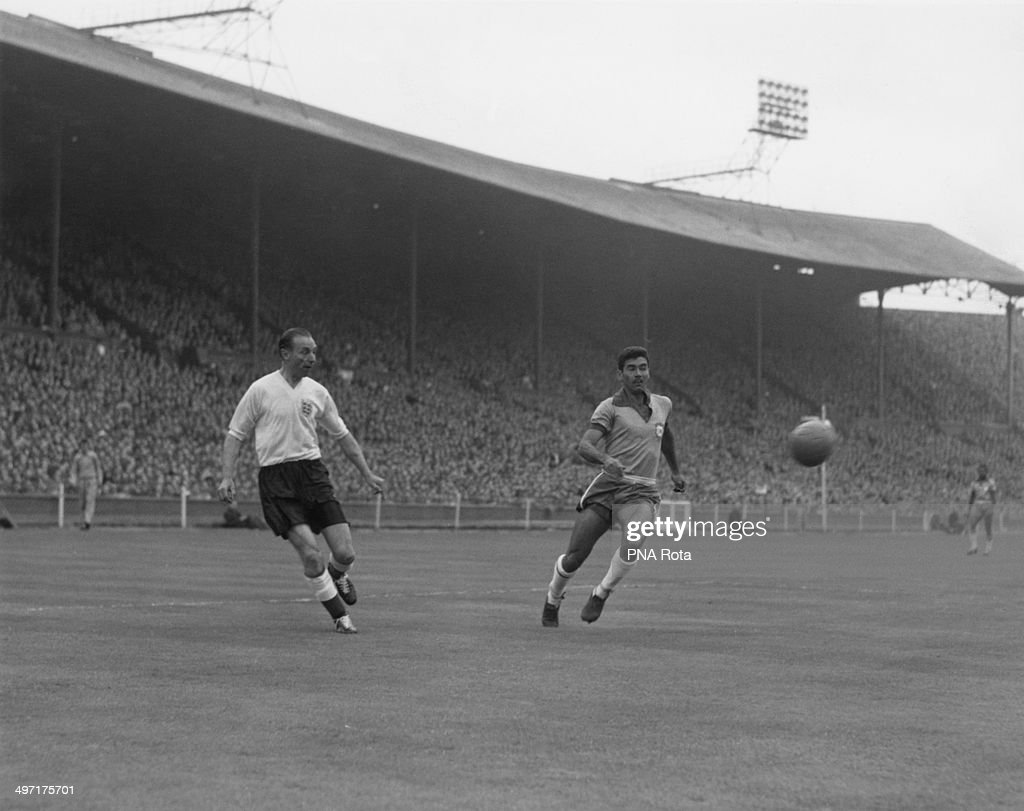 Stanley Matthews and Nilton Santos during England versus Brazil, an International Friendly at Wembley Stadium, 9th May 1956. England won 4-2.