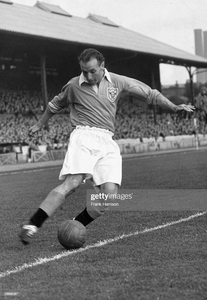 Stanley Matthews outside-right for England and Blackpool FC, in action during a match for Blackpool.
