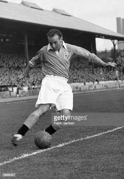 Stanley Matthews outsideright for England and Blackpool FC in action during a match for Blackpool