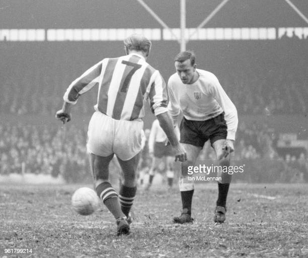 Stanley Matthews playing in his last league match for Stoke City against Fulham FC at the Victoria Ground Stoke in front of a capacity crowd on 6th...