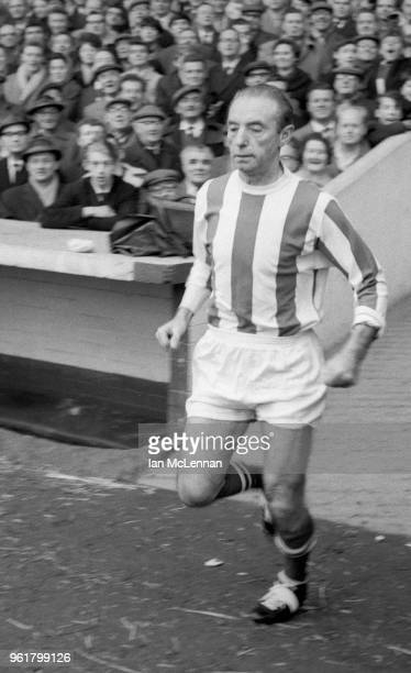 Stanley Matthews runs out to play in his last league match, for Stoke City against Fulham FC at the Victoria Ground Stoke in front of a capacity...