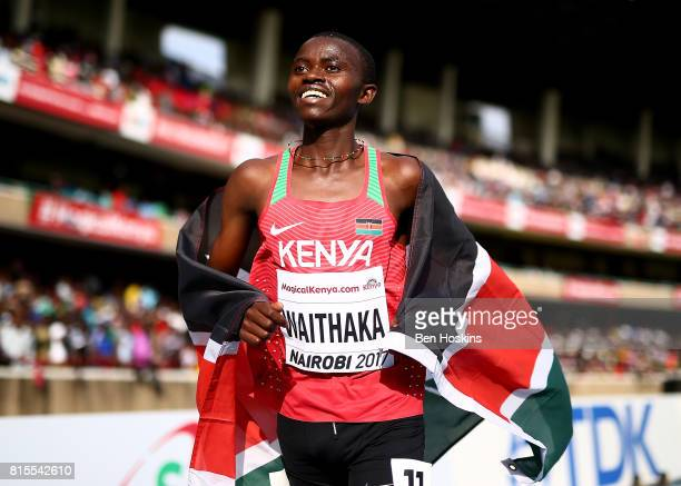 Stanley Mburu Waithaka of Kenya celebrates after winning bronze in the final of the boys 3000m on day five of the IAAF U18 World Championships at The...