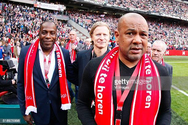 Stanley Menzo, Stefan Petterson, Marciano Vink in memoriam Johan Cruijff during the Dutch Eredivisie match between Ajax Amsterdam and PEC Zwolle at...