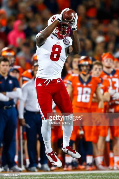 Stanley Morgan Jr #8 of the Nebraska Cornhuskers catches the ball during the game against the Illinois Fighting Illini at Memorial Stadium on...