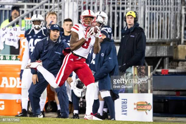Stanley Morgan Jr #8 of the Nebraska Cornhuskers makes a first down reception second half against the Penn State Nittany Lions on November 18 2017 at...