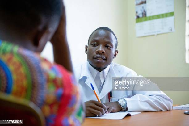 Stanley Mutale a student at Kafue College of Nursing demonstrates his skills on a simulated patient at the Shikoswe Health Centre in Kafue Zambia...