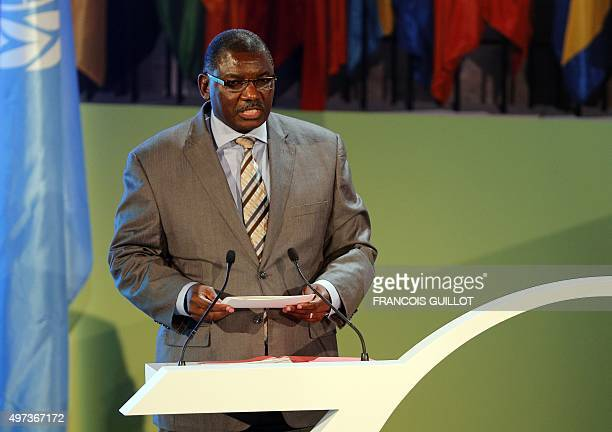 Stanley Mutumba Simataa elected President of the 38th session of the General Conference of UNESCO speaks during the opening of the General Conference...