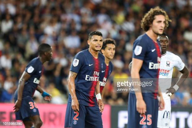 Stanley N'Soki Marquinhos Thiago Silva and Adrien Rabiot of PSG during the French Ligue 1 match between Paris Saint Germain and Caen at Parc des...
