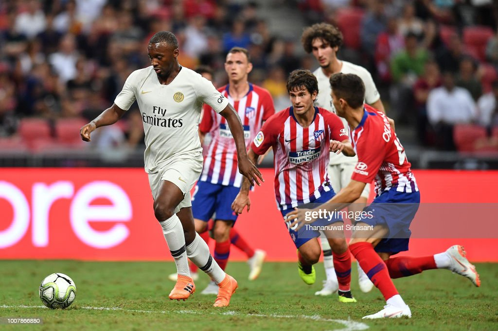 Stanley Nsoki of Paris Saint Germain looks on the ball during the International Champions Cup match between Paris Saint Germain and Clu b de Atletico Madrid at the National Stadium on July 30, 2018 in Singapore.