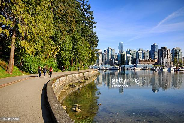 stanley park seawall path - stanley park stock photos and pictures