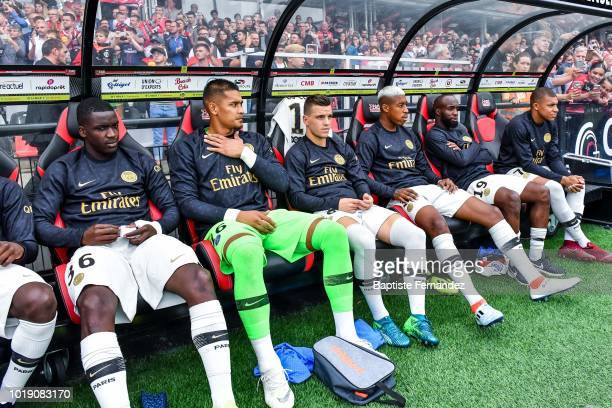 Stanley Pierre N'soki Alphonse Areola Giovani Lo celso Presnel Kimpembe Lassana Diarra and Kylian Mbappe of Paris Saint Germain during the French...