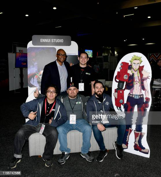 Stanley PierreLouis poses with Ennui the winners of the Videojuegos competition during E3 2019 at the Los Angeles Convention center on June 13 2019...