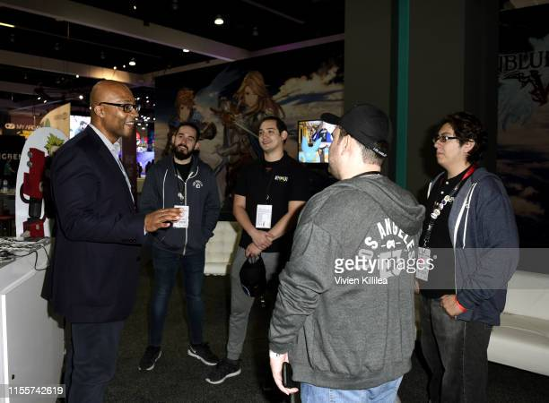 Stanley PierreLouis speaks with Ennuithe winners of the Videojuegos competition during E3 2019 at the Los Angeles Convention center on June 13 2019...