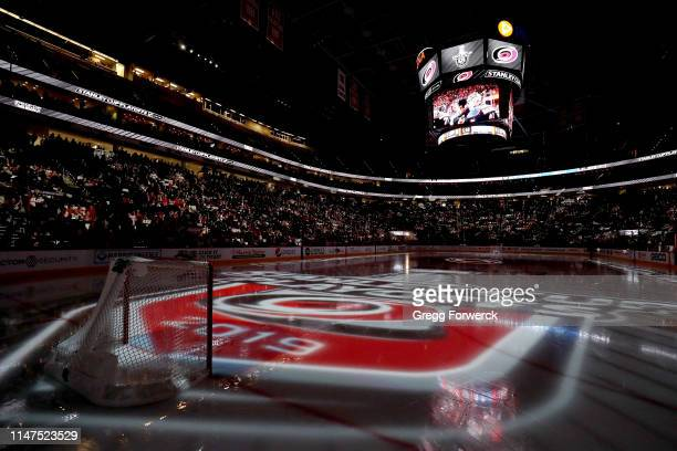 Stanley playoff logos are projected on the ice prior to Game Four of the Eastern Conference Second Round between the Carolina Hurricanes and New York...