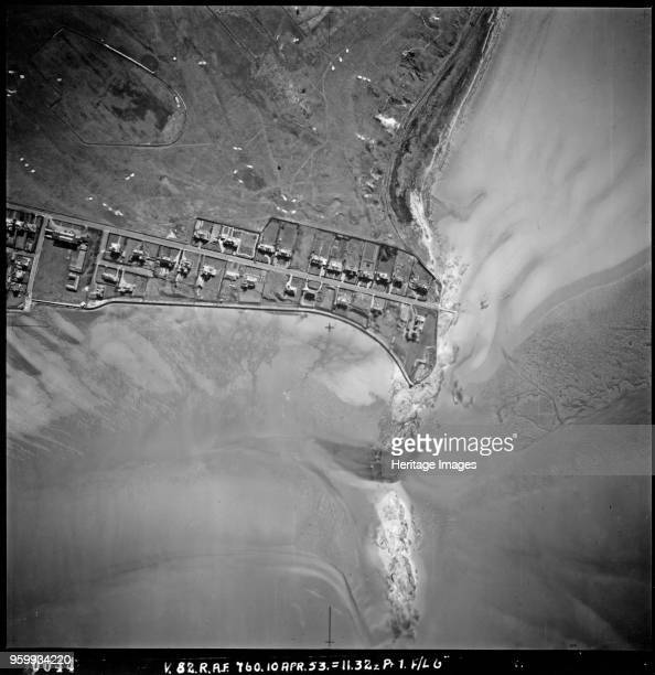 Stanley Road Hoylake Wirral Merseyside April 1953 Aerial view showing a road with houses going to the cliff edge The Royal Liverpool Golf Club now...