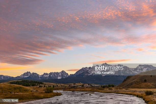 stanley sunset - idaho stock pictures, royalty-free photos & images