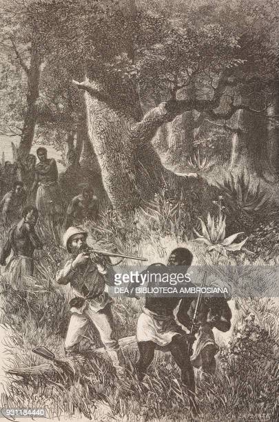 Stanley suppressing a revolt in the Gombe Tanzania drawing by Emile Antoine Bayard from How I found Livingstone 18711872 by Henry Morton Stanley from...