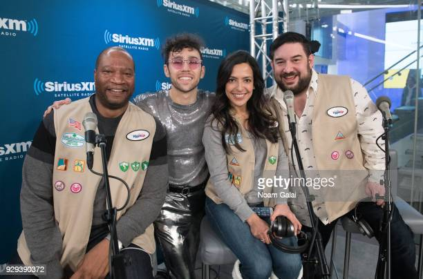 Stanley T MAX Nicole Ryan and Ryan Sampson pose for a photo at SiriusXM Studios on March 8 2018 in New York City
