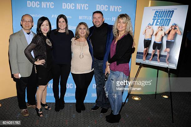 """Stanley Truong, Patty Huang, Lara Stolman, Maria McQuay, Mike McQuay and Rosa Justino attend the New York premiere of """"Swim Team"""" at DOC NYC on..."""