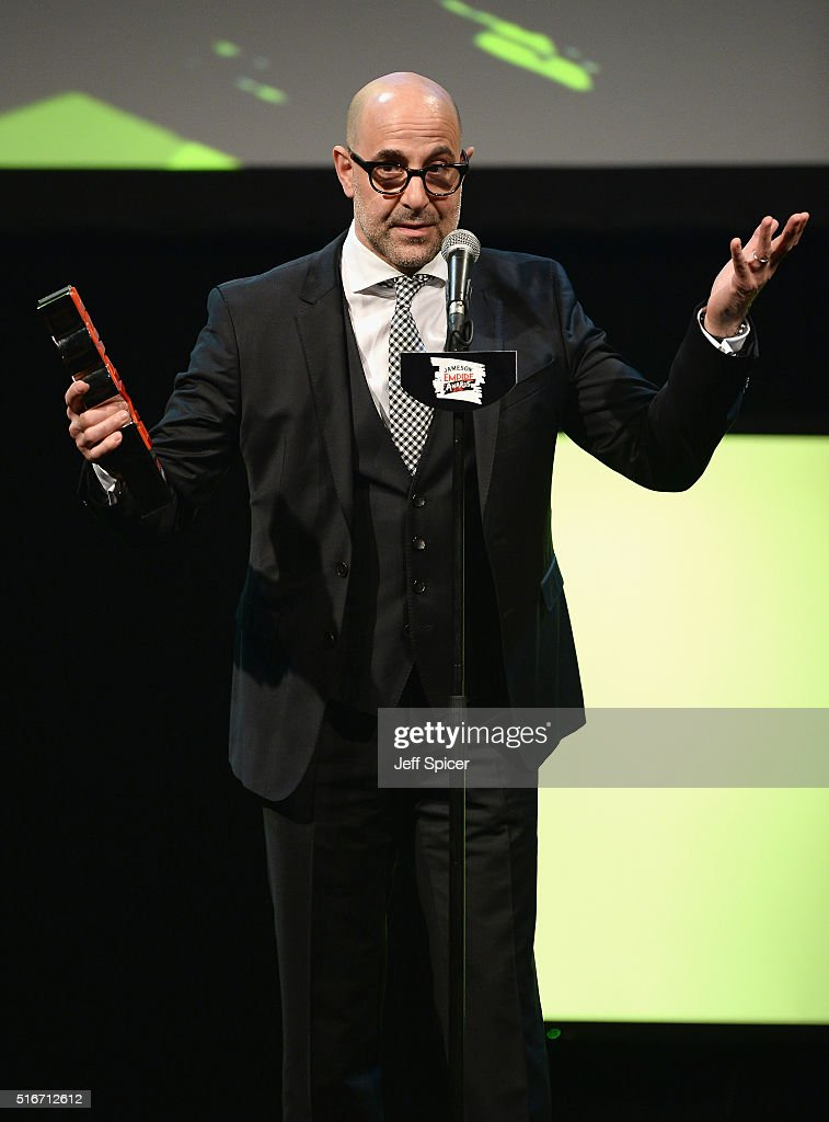Stanley Tucci accepts the Empire Hero award on stage during the Jameson Empire Awards 2016 at The Grosvenor House Hotel on March 20, 2016 in London, England.