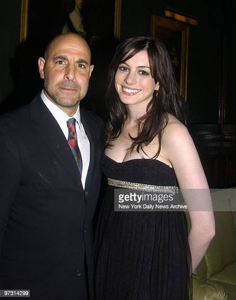 Stanley Tucci and Anne Hathaway arrive at the St. Regis Hotel for an auction benefiting The Breast Cancer Research Foundation, Dress for Success and...