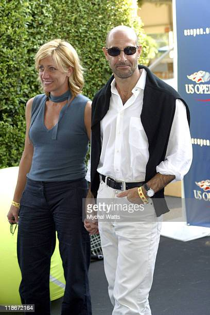Stanley Tucci and Edie Falco during 2003 US Open US Open Finals VIP Party Day 1 at USTA National Tennis Center in Queens New York United States