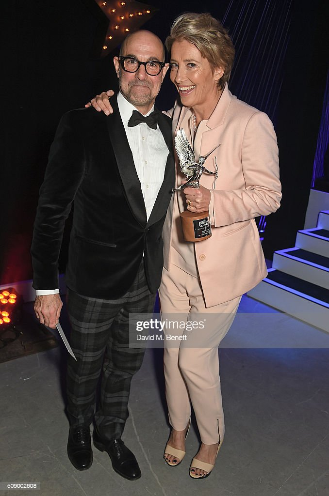 Stanley Tucci (L) and Emma Thompson, winner of the Comedy Award for 'The Legend Of Barney Thomson', attend the London Evening Standard British Film Awards at Television Centre on February 7, 2016 in London, England.