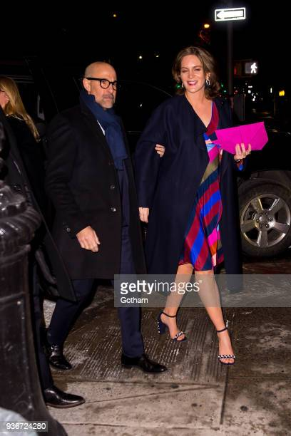 Stanley Tucci and Felicity Blunt are seen in the Upper East Side on March 22 2018 in New York City