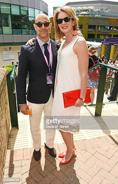 Stanley Tucci and Felicity Blunt attend the evian Live Young suite during Wimbledon 2016 at the All England Tennis and Croquet Club on June 27 2016...