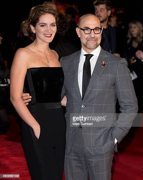 Stanley Tucci and Felicity Blunt attend The Hunger Games Mockingjay Part 2 UK premiere at Odeon Leicester Square on November 5 2015 in London England